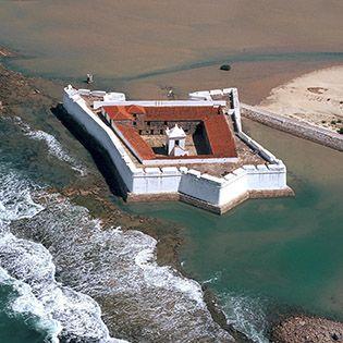 Praia do forte em Natal - Vista aérea do forte