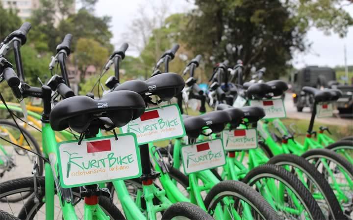 Bicicletas do Kuritbike em Curitiba no Paraná