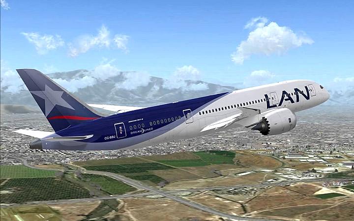 Avião da LAN rumo a Ilha de páscoa