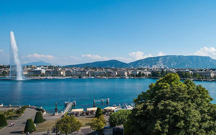Margem do Lago Léman em Genebra
