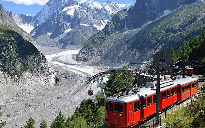 Trem indo para Mer de Glace em Chamonix