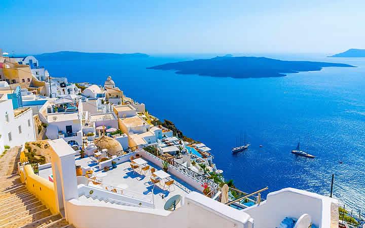 Vista mar vulcao fira ilha santorini - Atenas