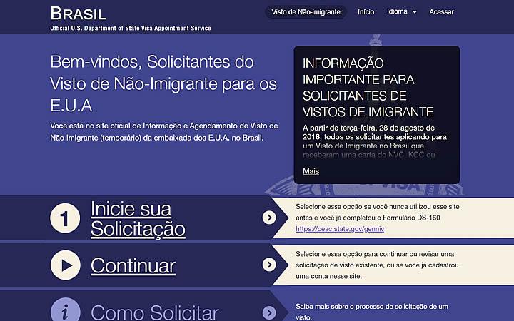 Tela principal do site Aiu usvisa-info