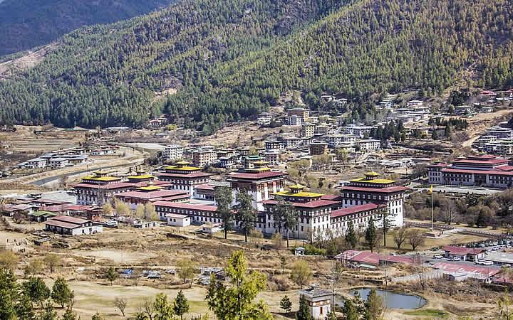 Cidade de Thimphu em Butão