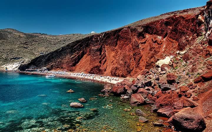 Red Beach em Santorini na Grécia