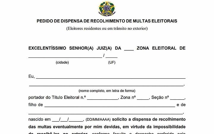 Pedido de dispensa de recolhimento de multas eleitorais