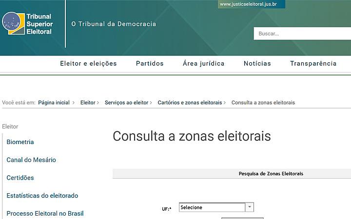 Site do Tribunal Superior Eleitoral - Encontrando endereço do cartório na zona Eleitoral
