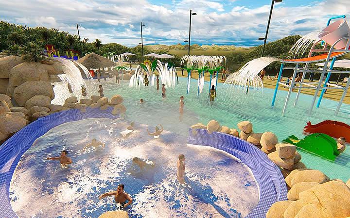 Pessoas na piscina do Thermas Hot World em Águas de Lindóia