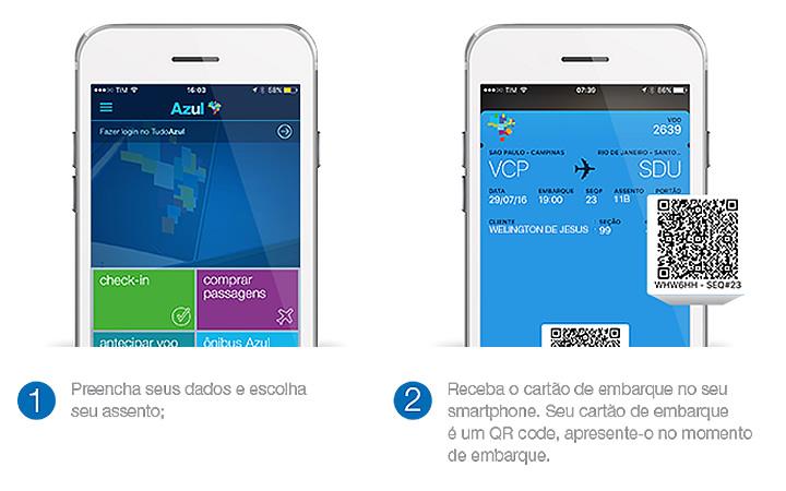 Check in online pelos aplicativos da Azul