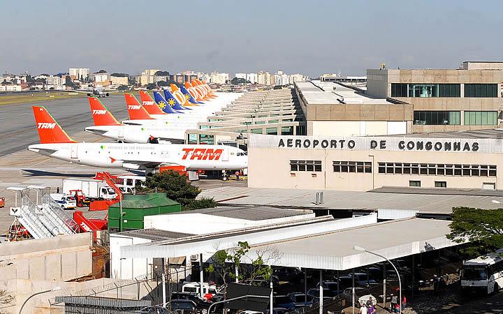 Aeronaves no aeroporto de Congonhas