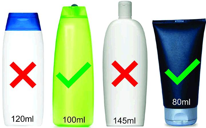 Frascos permitidos e proibidos para levar na bagagem de mão