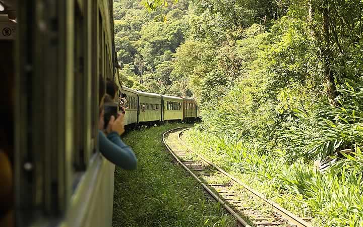 Como é feito o passeio de trem na Serra do Mar