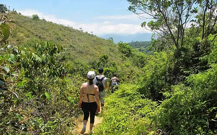Grupo de pessoas fazendo trilha