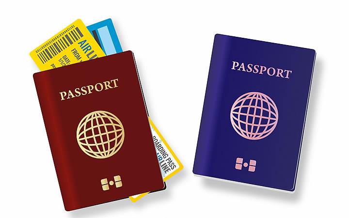 Passaporte e bilhete de viagem
