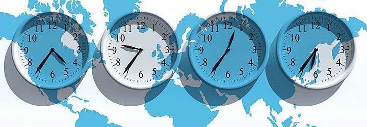 Relógios em diferentes fuso horários - Jet Lag