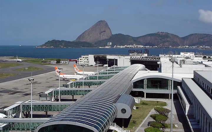 Vista no aérea no aeroporto Santos Dumont