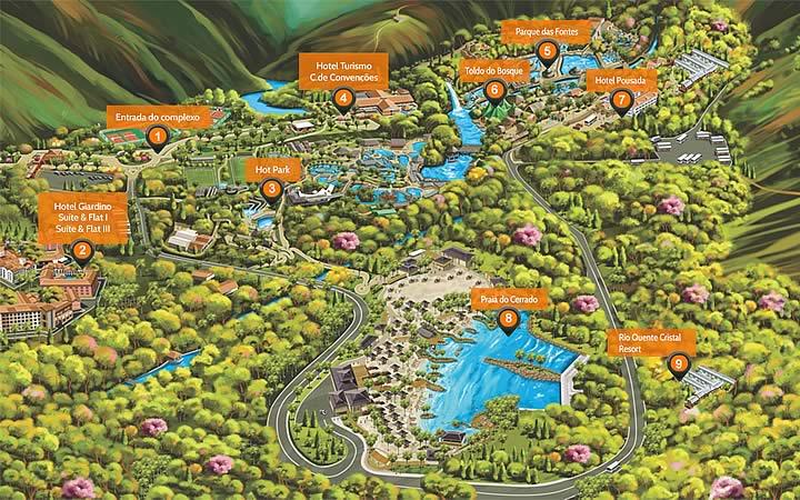 Mapa do Rio Quente Resorts