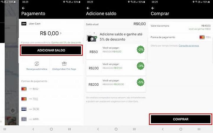 Formas de pagamento no Uber