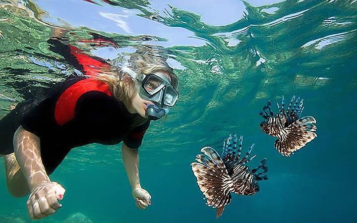 Mulher praticando Snorkel na Ilha das Couves