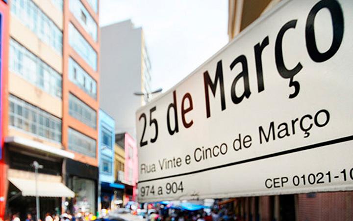 Placa da rua 25 de março