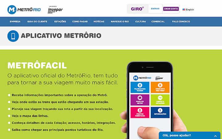 Aplicativo do Metrô Rio