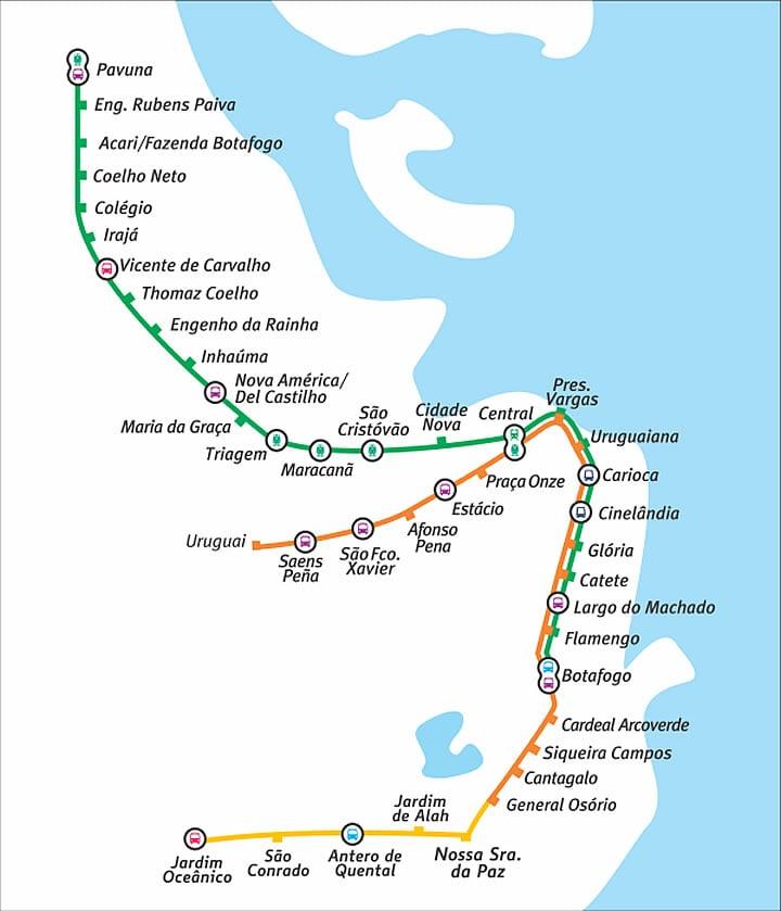 Mapa metrô Rio