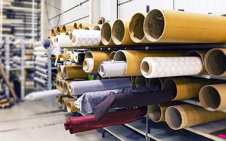Indústria Téxil rolos de tecidos